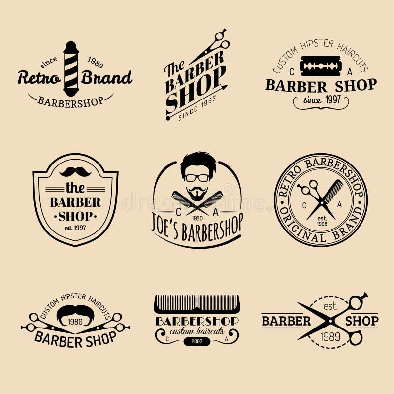 Sistema del vector de logotipos de la barbería del inconformista del vintage Colección de las insignias o de los emblemas del pel stock de ilustración
