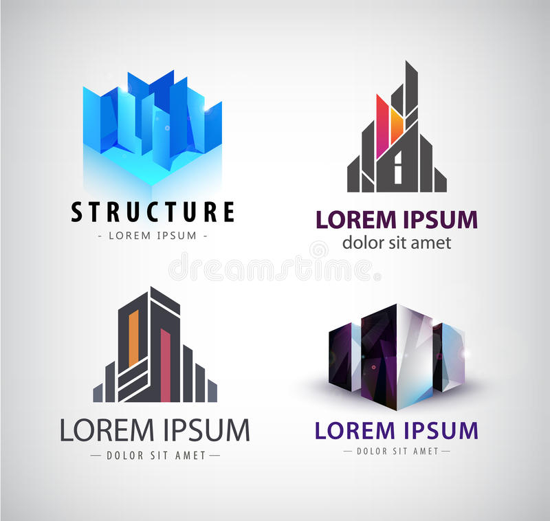 Sistema del vector de logotipos del edificio 3d estructura, casa, oficina stock de ilustración
