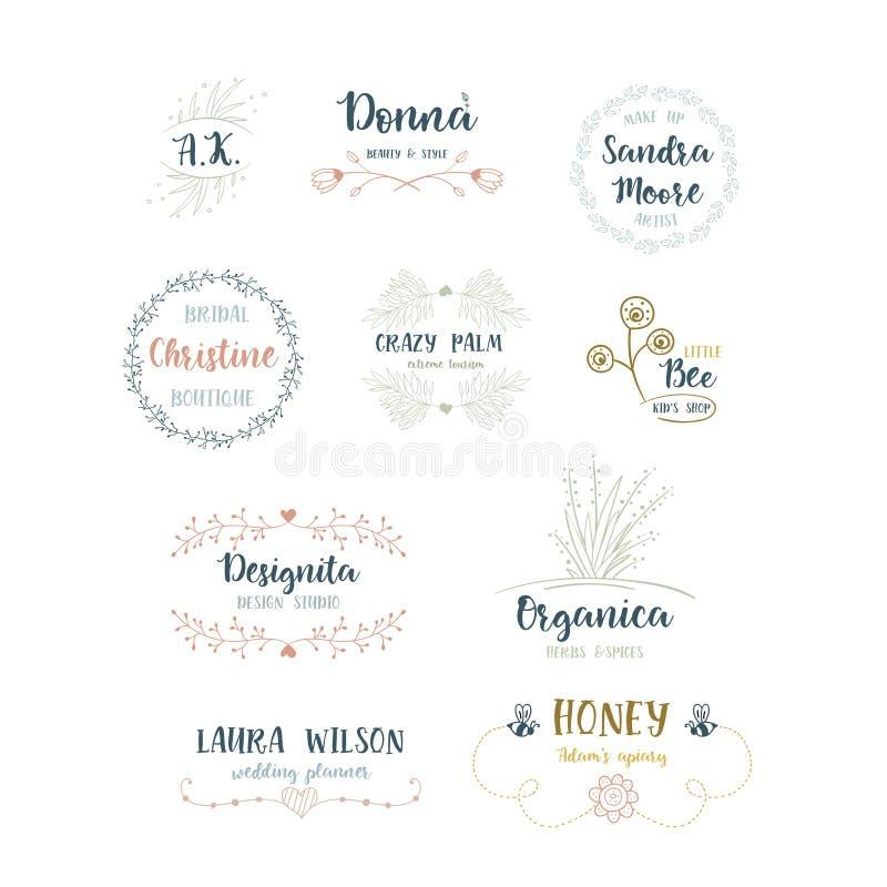 Sistema del vector de logotipos florales handdrawn stock de ilustración