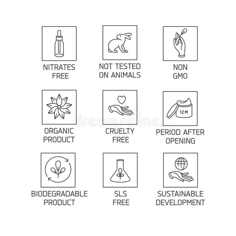 Sistema del vector de logotipos, insignias e iconos para los productos hechos a mano amistosos del eco natural, cosméticos orgáni ilustración del vector