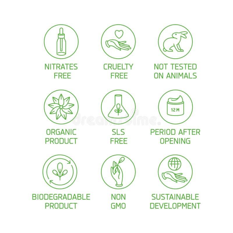 Sistema del vector de logotipos, insignias e iconos para los productos hechos a mano amistosos del eco natural, cosméticos orgáni stock de ilustración