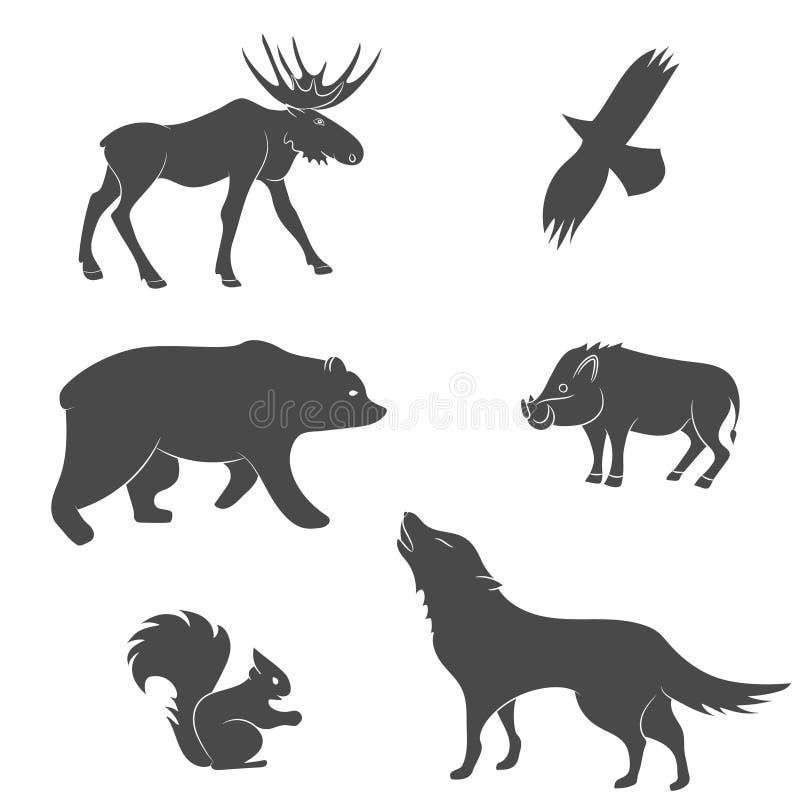 Sistema del vector de los animales del mamífero del bosque libre illustration