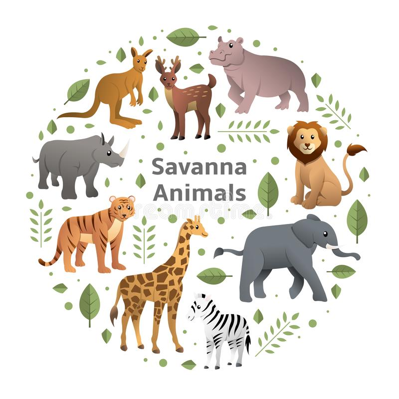 Sistema del vector de los animales de la sabana stock de ilustración