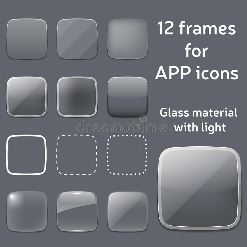 Sistema del vector de los bastidores de cristal vacíos para los iconos del app stock de ilustración