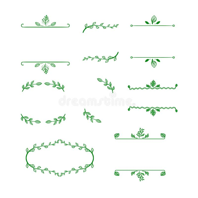 Sistema del vector de los bastidores naturales del espacio en blanco del garabato, ilustraciones dibujadas mano del esquema stock de ilustración