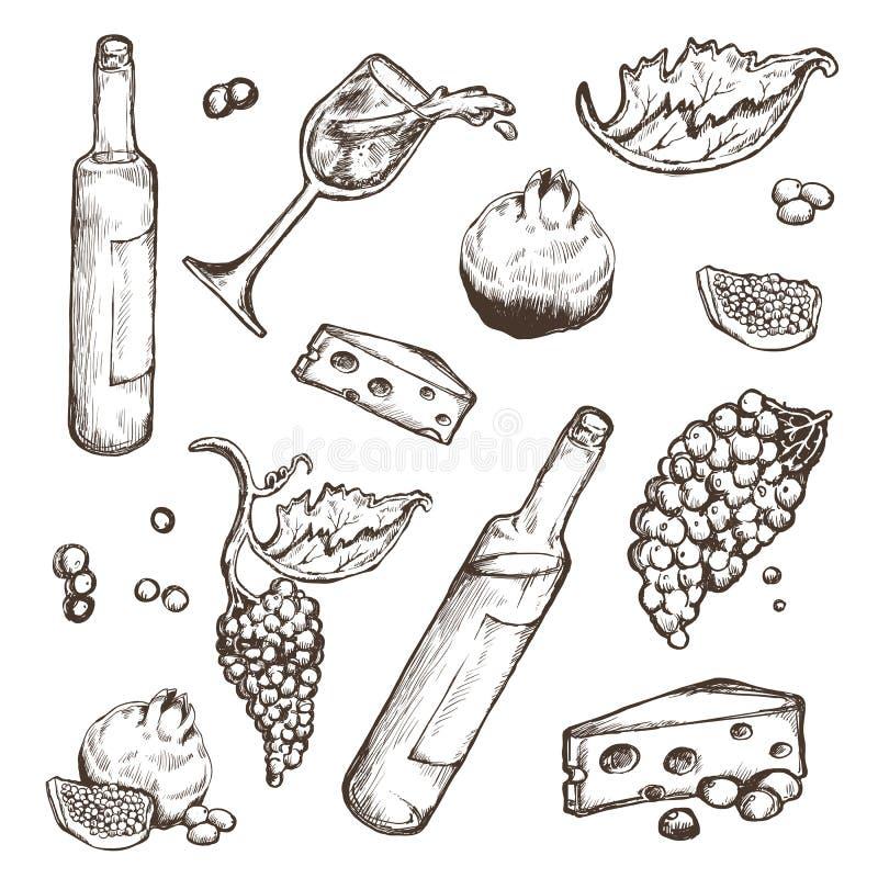 Sistema del vector de los bosquejos bebida y comida en un fondo blanco Botella de vino, copa, fruta, pedazo, las ramas libre illustration