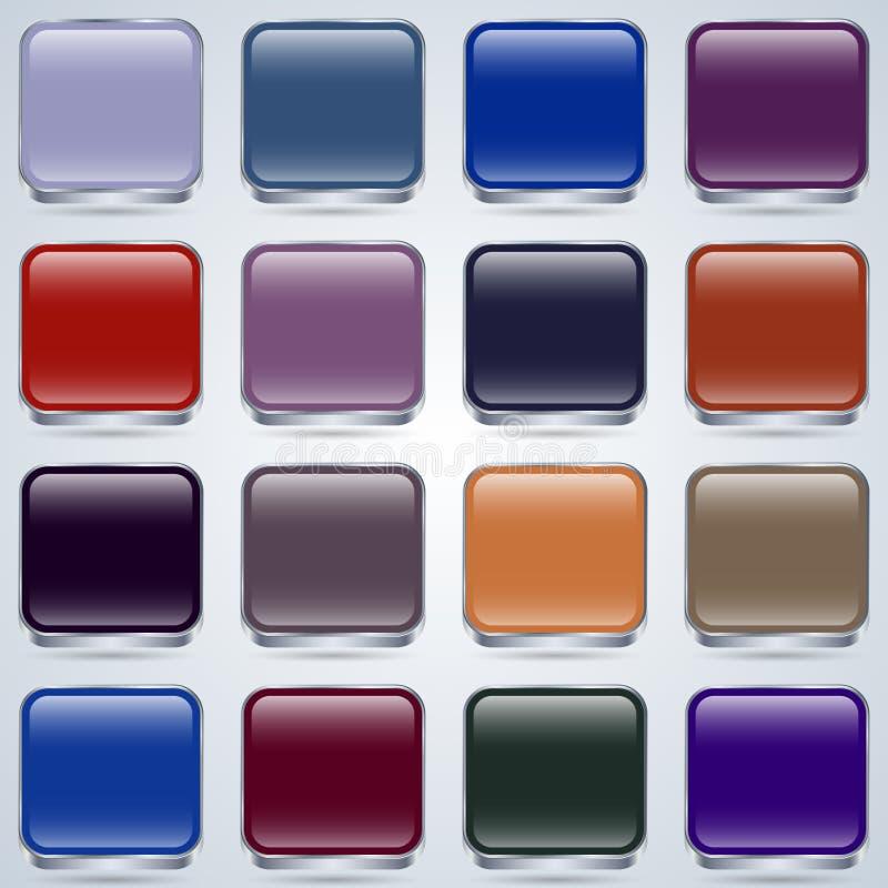 Sistema del vector de los botones del vidrio stock de ilustración