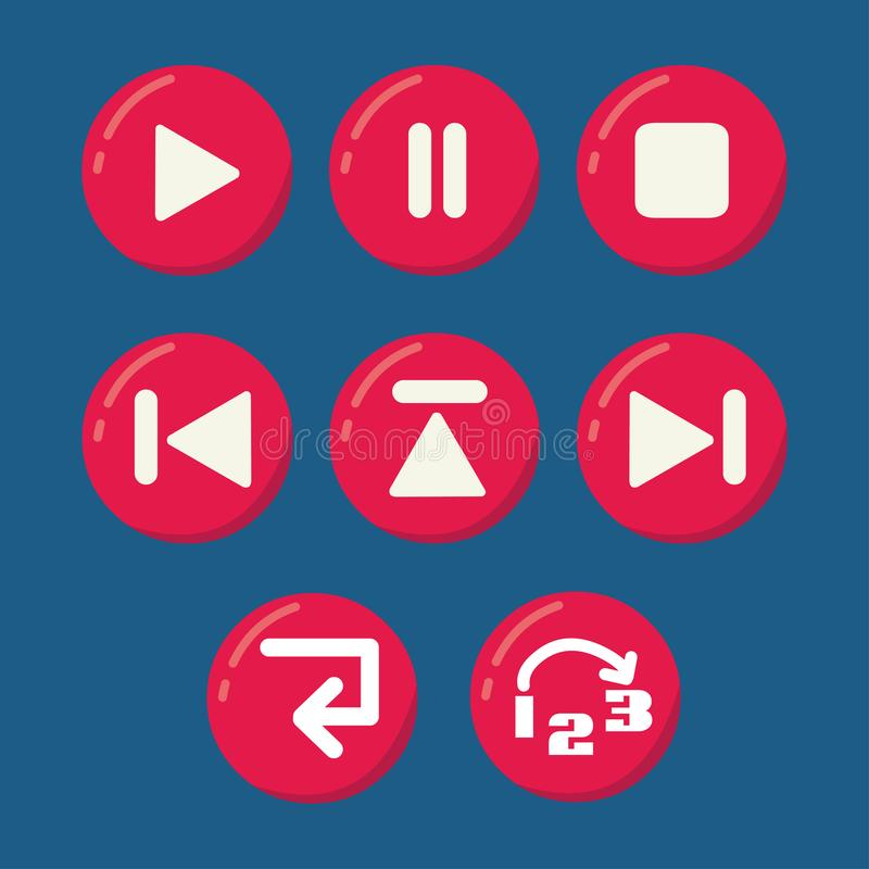 Sistema del vector de los botones del reproductor multimedia libre illustration