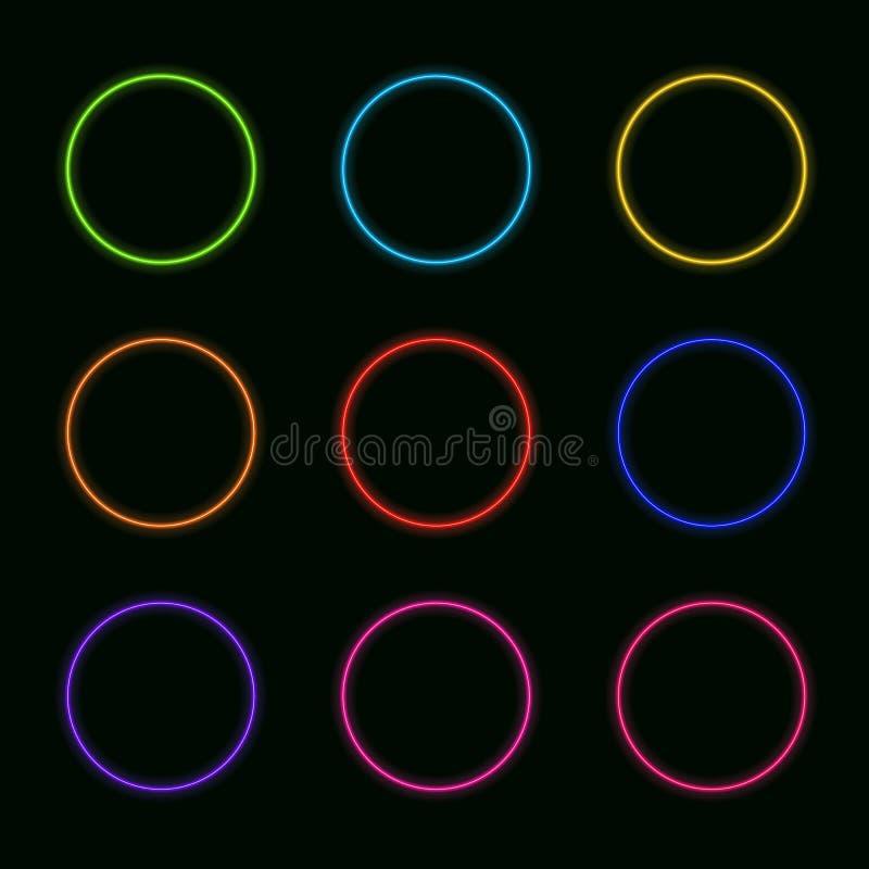 Sistema del vector de los círculos de neón: El arco iris colorea brillar intensamente de las formas redondas stock de ilustración