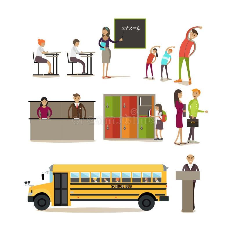 Sistema del vector de los caracteres de la escuela, elementos del diseño en estilo plano ilustración del vector