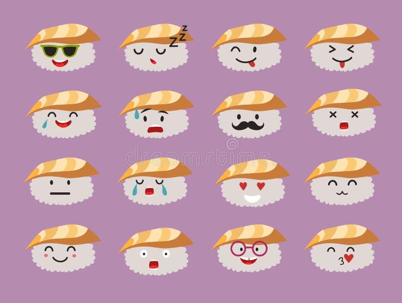 Sistema del vector de los caracteres del sushi de los Emoticons libre illustration