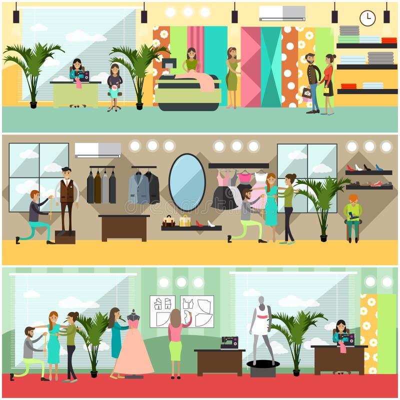 Sistema del vector de los carteles del taller de la moda, banderas en estilo plano stock de ilustración