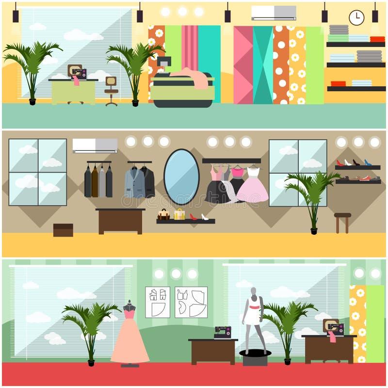 Sistema del vector de los carteles planos interiores del taller de la moda, banderas libre illustration
