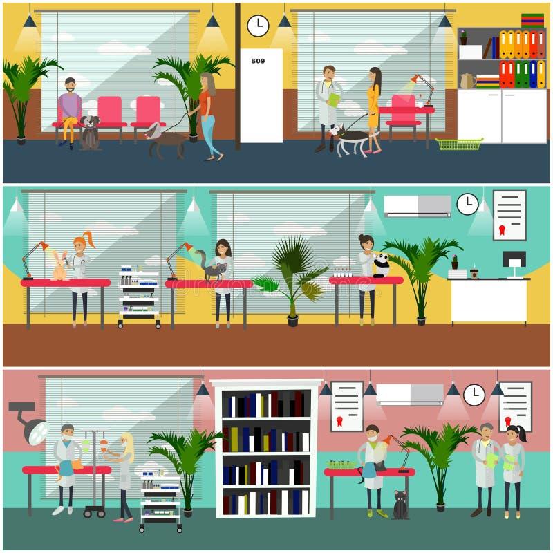 Sistema del vector de los carteles veterinarios del concepto del cuidado, banderas, estilo plano libre illustration