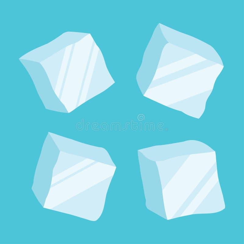 Sistema del vector de los cubos de hielo ilustración del vector