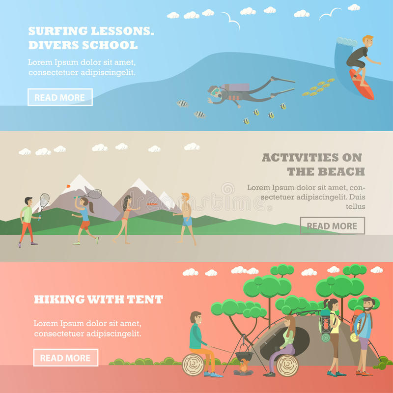 Sistema del vector de los deportes acuáticos, banderas horizontales del concepto de la actividad al aire libre stock de ilustración