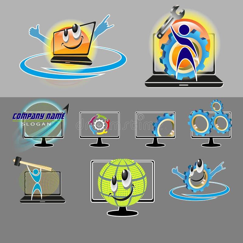 Sistema del vector de los diversos logotipos, smiley para la reparación, mantenimiento de la PC, ordenador portátil ilustración del vector