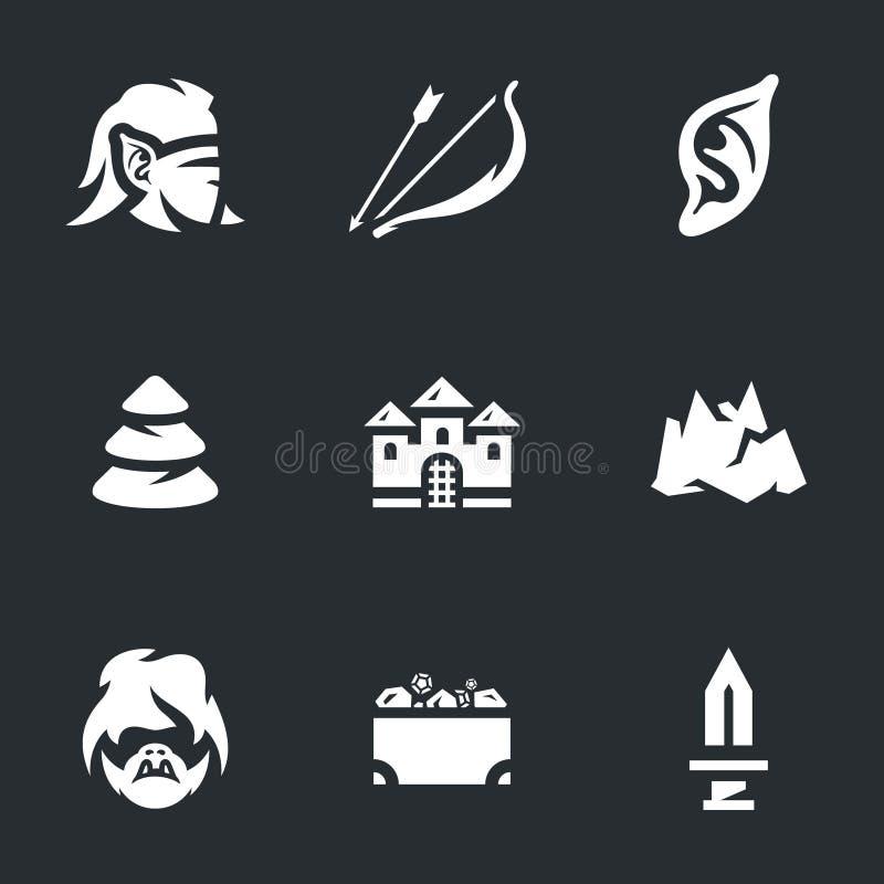 Sistema del vector de los duendes Archer Icons ilustración del vector