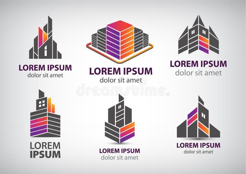 Sistema del vector de los edificios coloridos, logotipos de las casas ilustración del vector