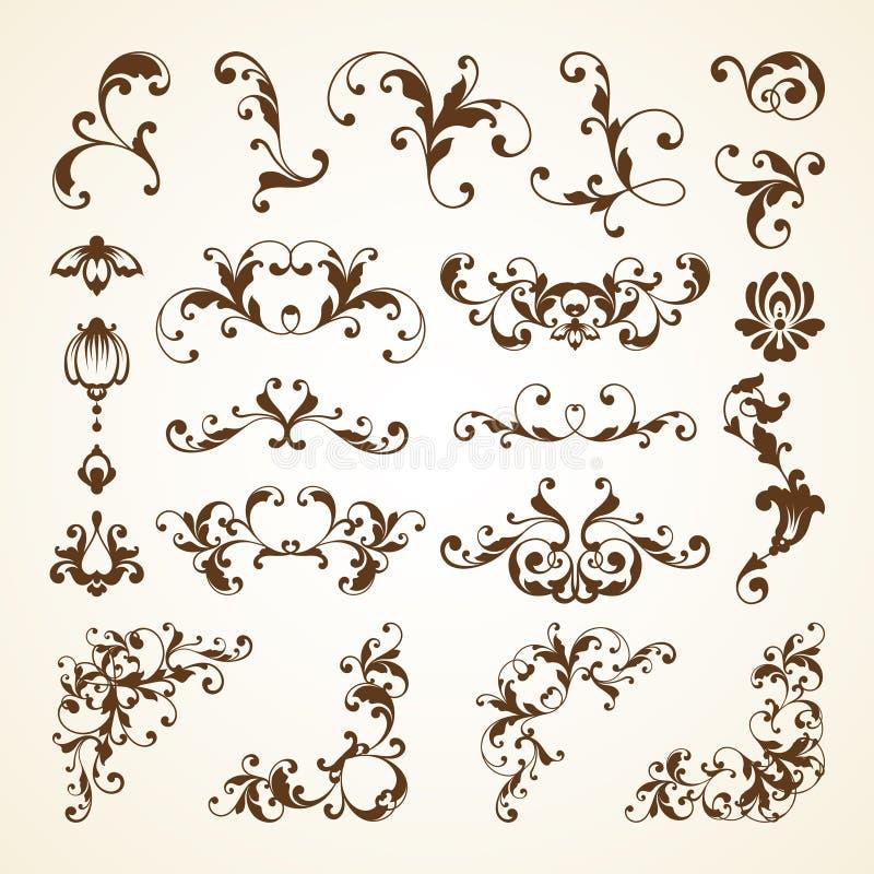 Sistema del vector de los elementos caligráficos del diseño de la decoración ornamental decorativa de la página del vintage para  ilustración del vector