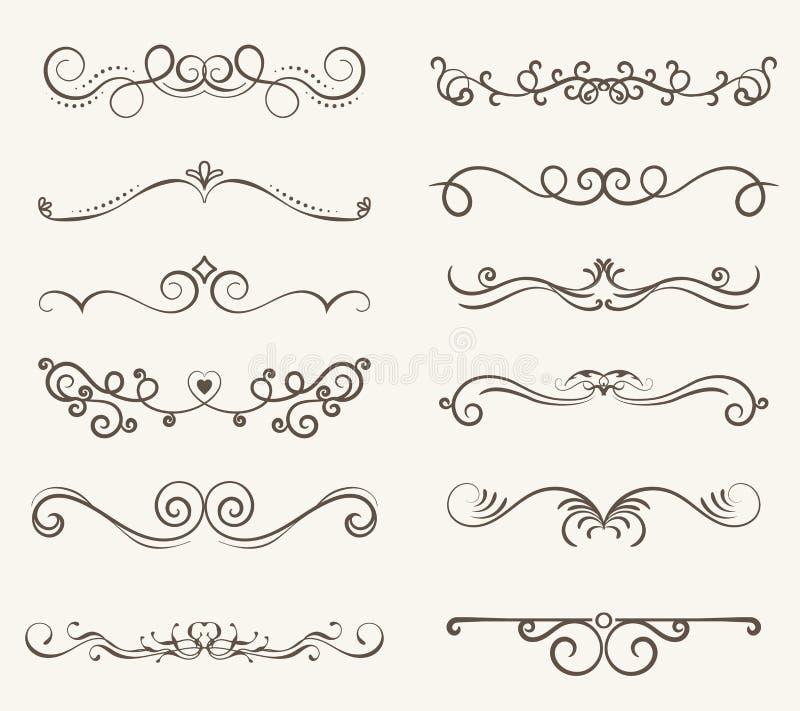 Sistema del vector de los elementos, del bastidor y de la línea decorativos estilo del vintage stock de ilustración