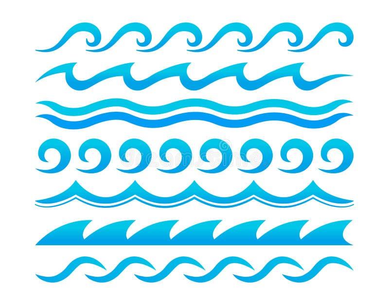 Sistema del vector de los elementos del diseño de las ondas de agua ilustración del vector