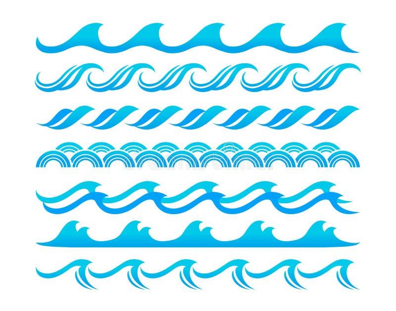 Sistema del vector de los elementos del diseño de las ondas de agua libre illustration