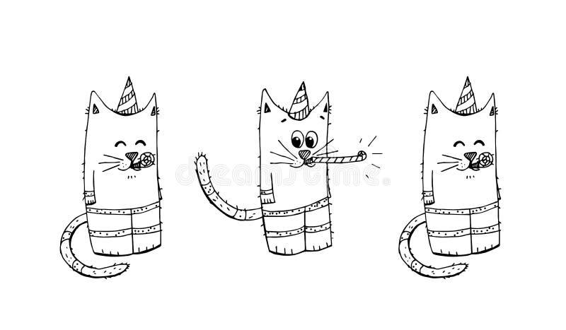 Sistema del vector de los elementos del partido del feliz cumpleaños Mano dibujada de fiesta de cumpleaños stock de ilustración