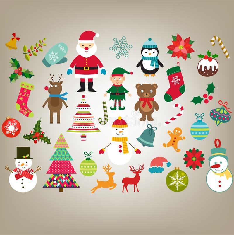 Sistema del vector de los elementos del dise?o de la Navidad stock de ilustración