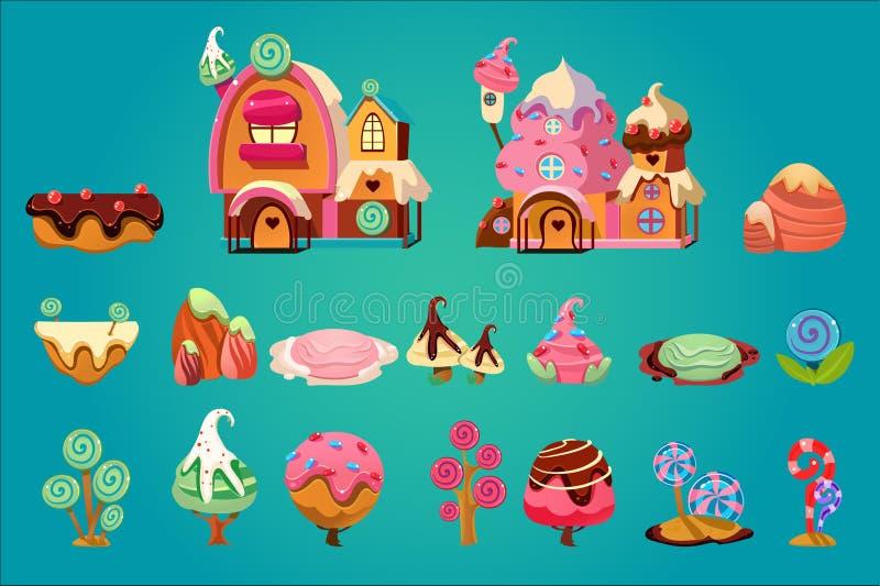 Sistema del vector de los elementos dulces del paisaje para el ordenador de la fantasía o el juego móvil Tierra del caramelo Casa stock de ilustración