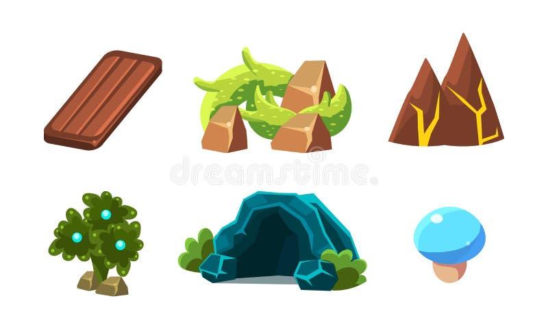 Sistema del vector de los elementos del paisaje de la historieta para el videojuego móvil Plantas fantásticas, cueva, tablero de  stock de ilustración