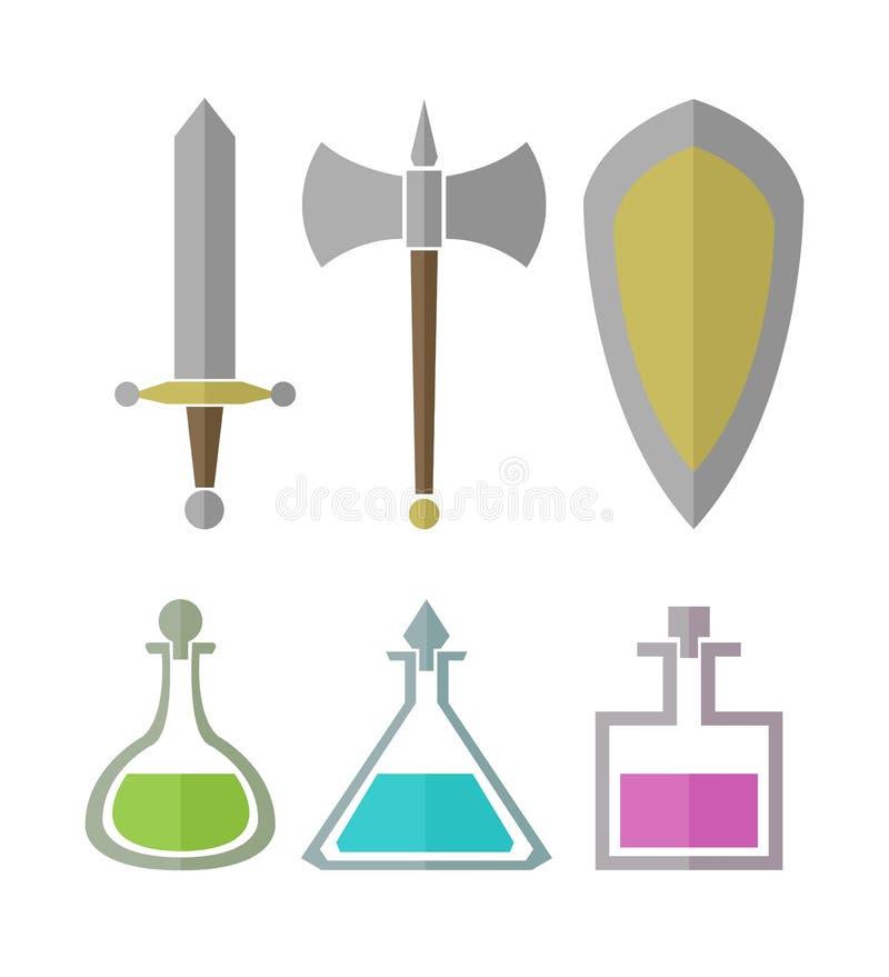 Sistema del vector de los elementos para los juegos del RPG ilustración del vector