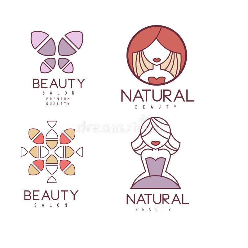 Sistema del vector de los emblemas geométricos para el centro de la belleza Logotipos del esquema con el terraplén colorido Etiqu stock de ilustración