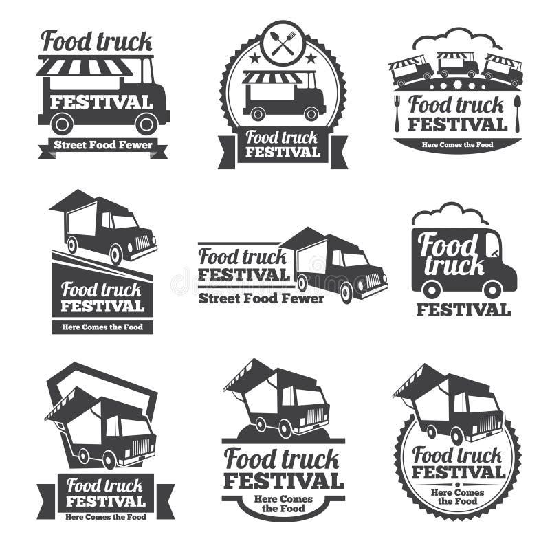 Sistema del vector de los emblemas y de los logotipos del festival del camión de la comida stock de ilustración