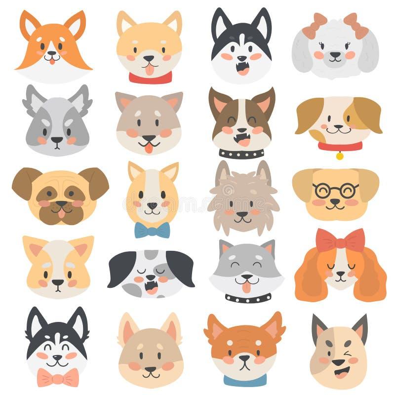 Sistema del vector de los emoticons de las cabezas de perros libre illustration
