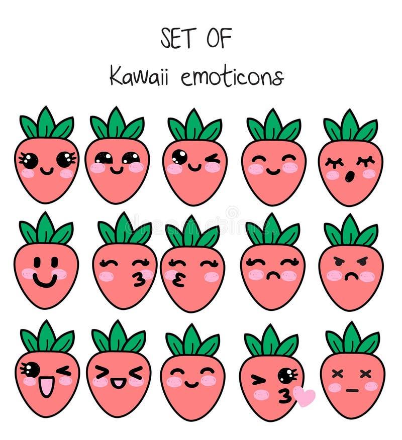 Sistema del vector de los emoticons del kawaii, fresas lindas con las caras con diversas emociones stock de ilustración