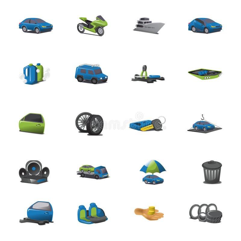 Sistema del vector de los iconos del coche ilustración del vector