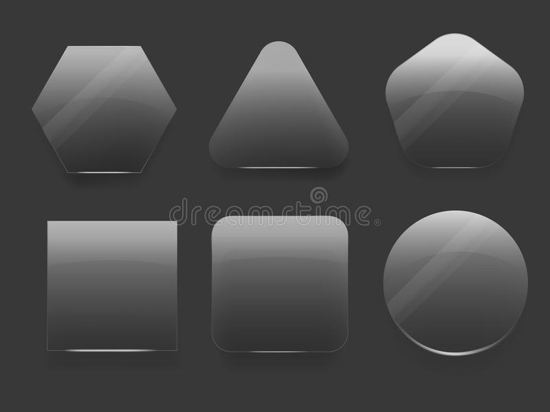 Sistema del vector de los iconos de cristal para las aplicaciones móviles en el fondo transparente en diversas formas - triángulo stock de ilustración