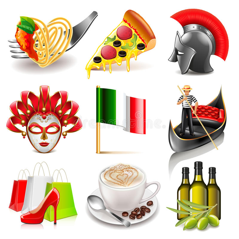 Sistema del vector de los iconos de Italia stock de ilustración