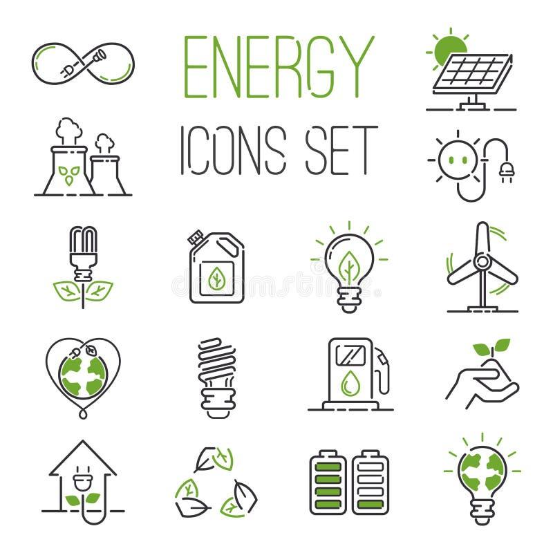 Sistema del vector de los iconos de la energía ilustración del vector