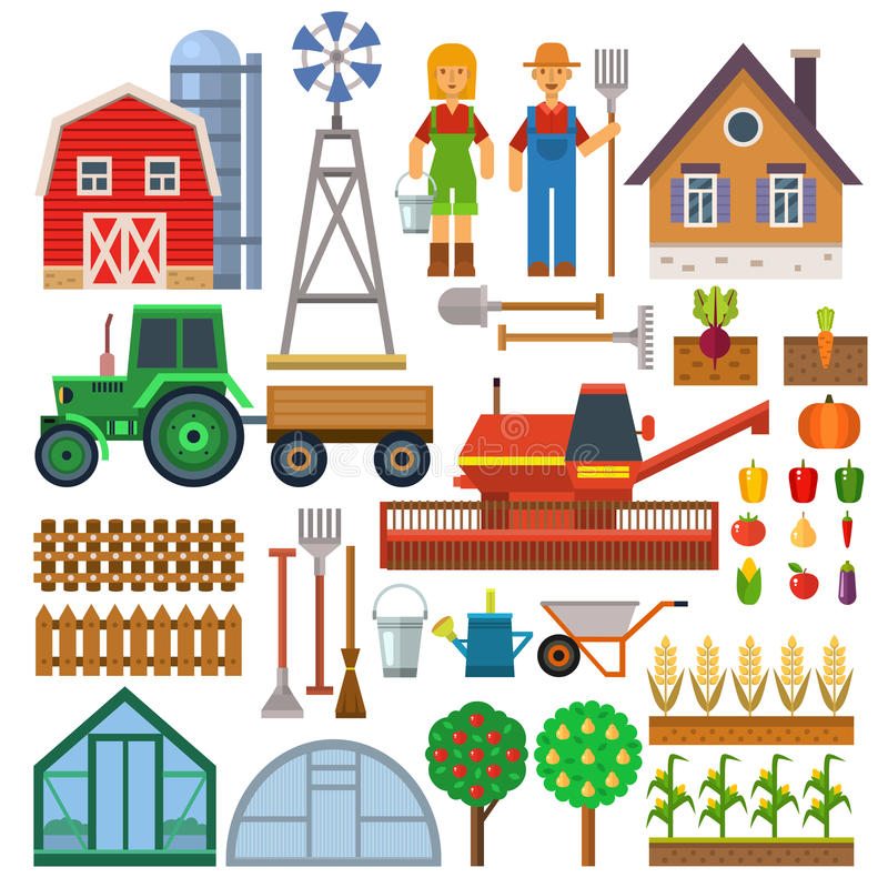 Sistema del vector de los iconos de la granja ilustración del vector