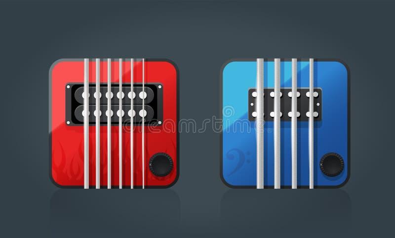 Sistema del vector de los iconos de la guitarra eléctrica para el software de la música ilustración del vector