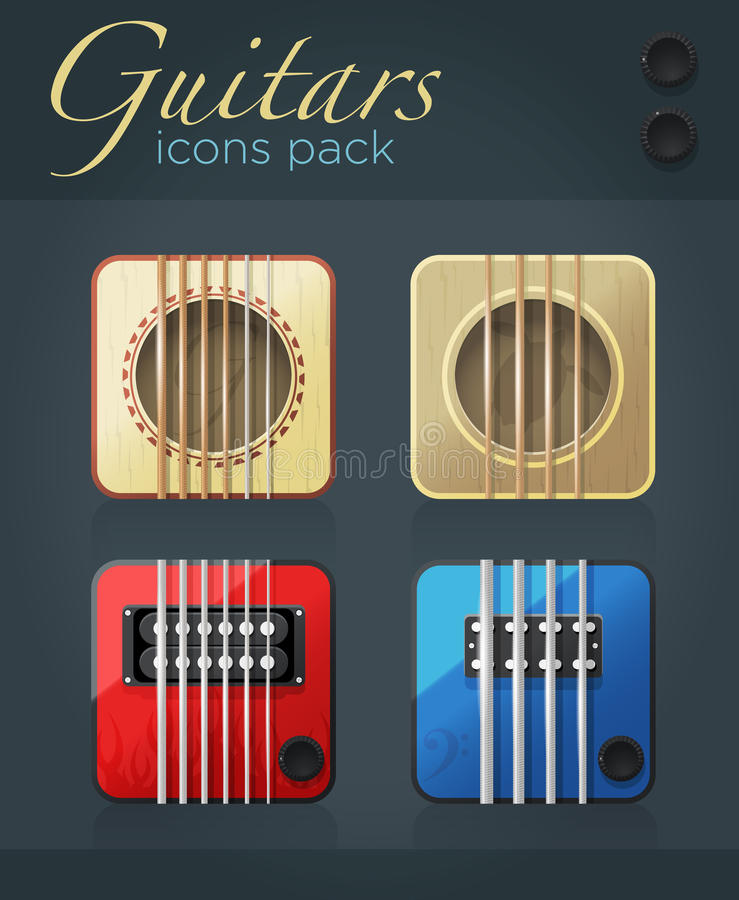 Sistema del vector de los iconos de la guitarra para el software de la música stock de ilustración