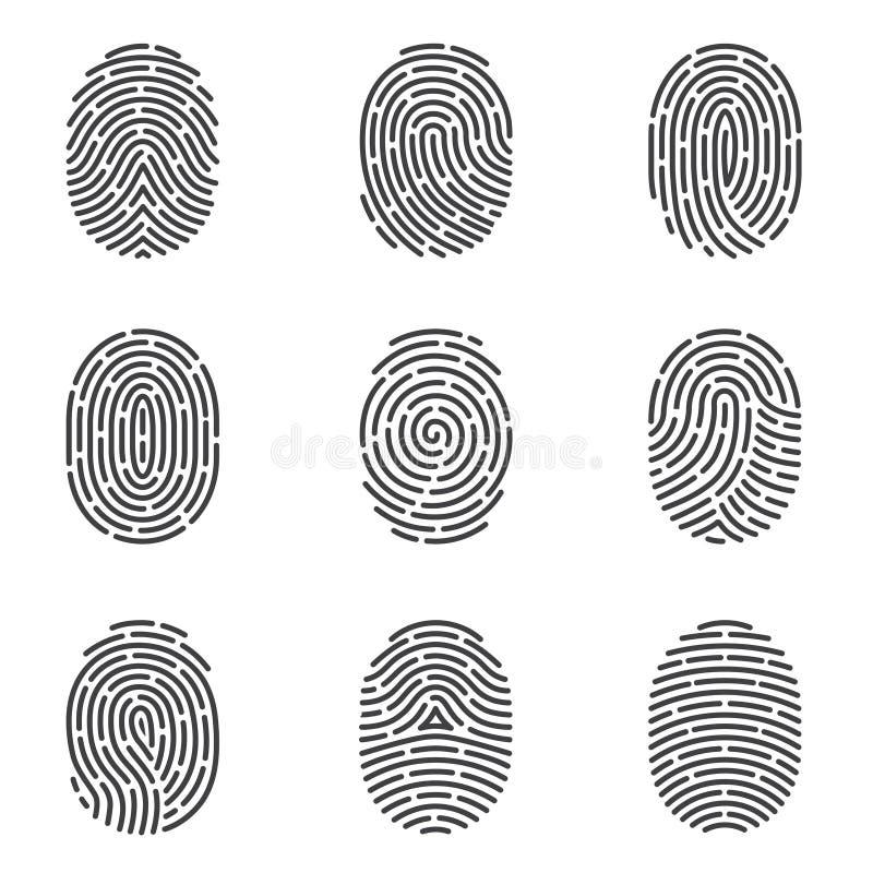 Sistema del vector de los iconos de la huella dactilar libre illustration