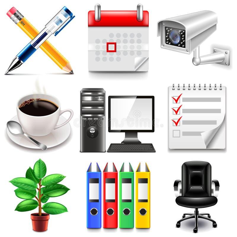 Sistema del vector de los iconos de la oficina stock de ilustración