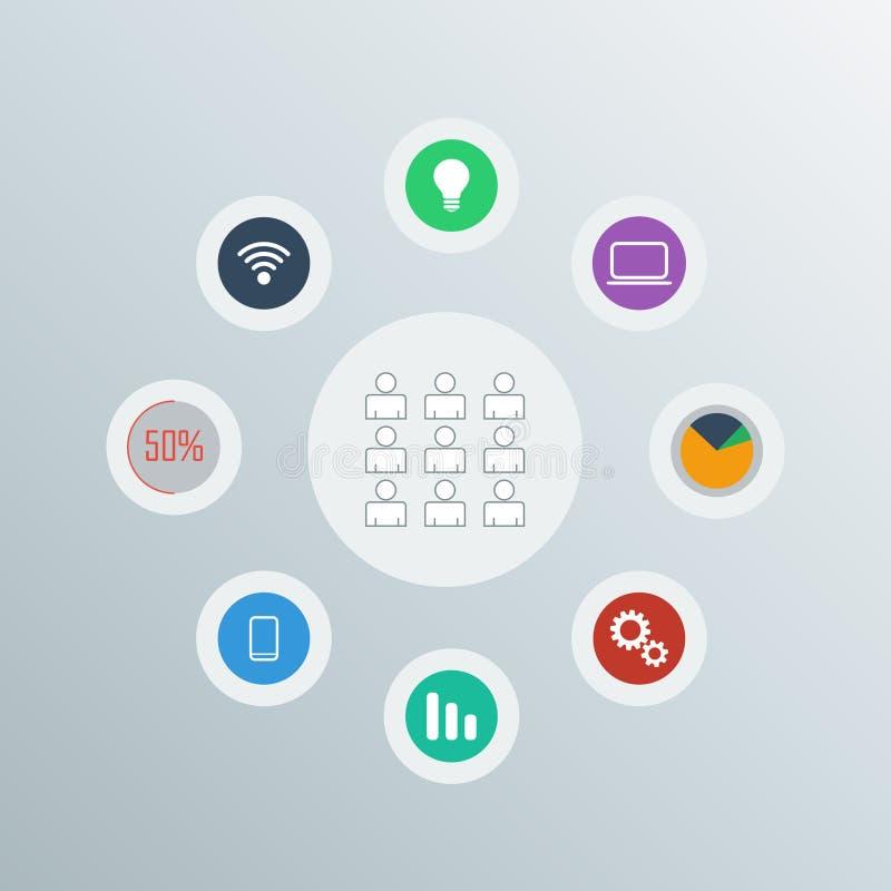 Sistema del vector de los iconos de la red stock de ilustración
