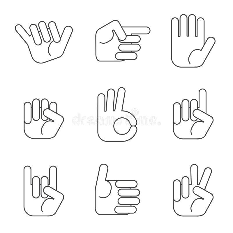 Sistema del vector de los iconos de las manos Estilo minimalistic del esquema ilustración del vector