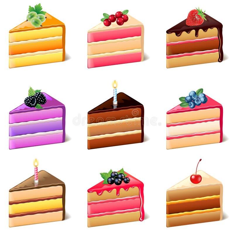 Sistema del vector de los iconos de las tortas stock de ilustración