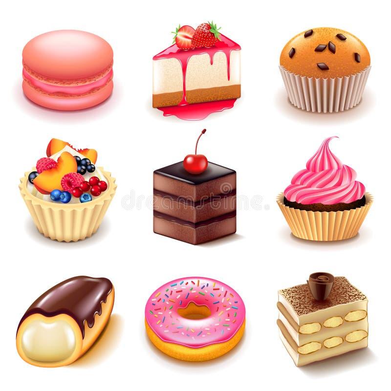 Sistema del vector de los iconos de las tortas ilustración del vector