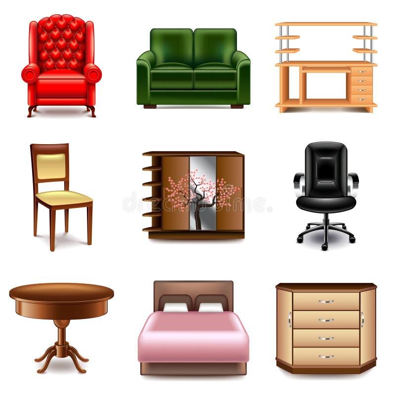 Sistema del vector de los iconos de los muebles ilustración del vector